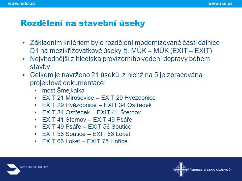 Rozd ě lení na stavební úseky Základním kritériem bylo rozdělení modernizované části dálnice D1 na mezikřižovatkové úseky, tj. MÚK – MÚK (EXIT – EXIT)