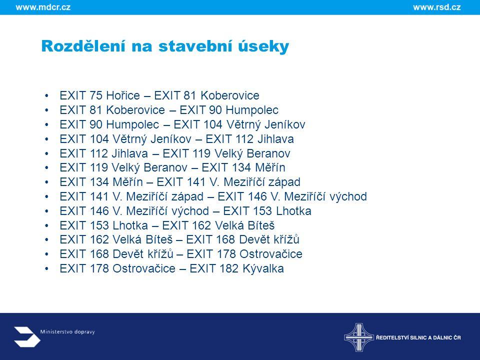 Rozdělení na stavební úseky EXIT 75 Hořice – EXIT 81 Koberovice EXIT 81 Koberovice – EXIT 90 Humpolec EXIT 90 Humpolec – EXIT 104 Větrný Jeníkov EXIT