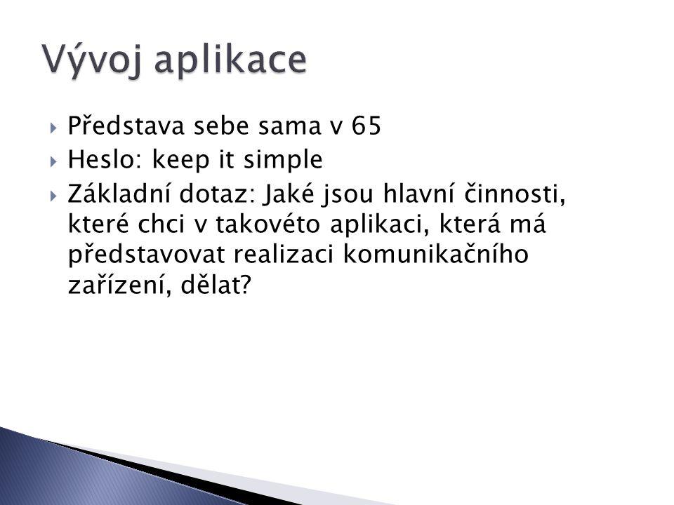  Představa sebe sama v 65  Heslo: keep it simple  Základní dotaz: Jaké jsou hlavní činnosti, které chci v takovéto aplikaci, která má představovat realizaci komunikačního zařízení, dělat?