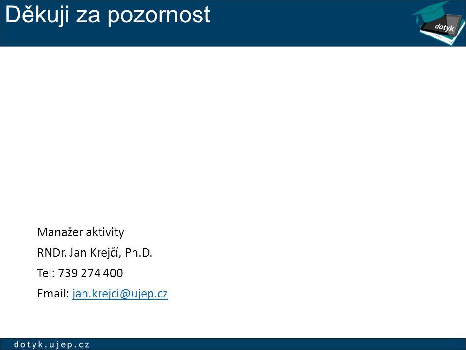 Děkuji za pozornost Manažer aktivity RNDr. Jan Krejčí, Ph.D. Tel: 739 274 400 Email: jan.krejci@ujep.czjan.krejci@ujep.cz
