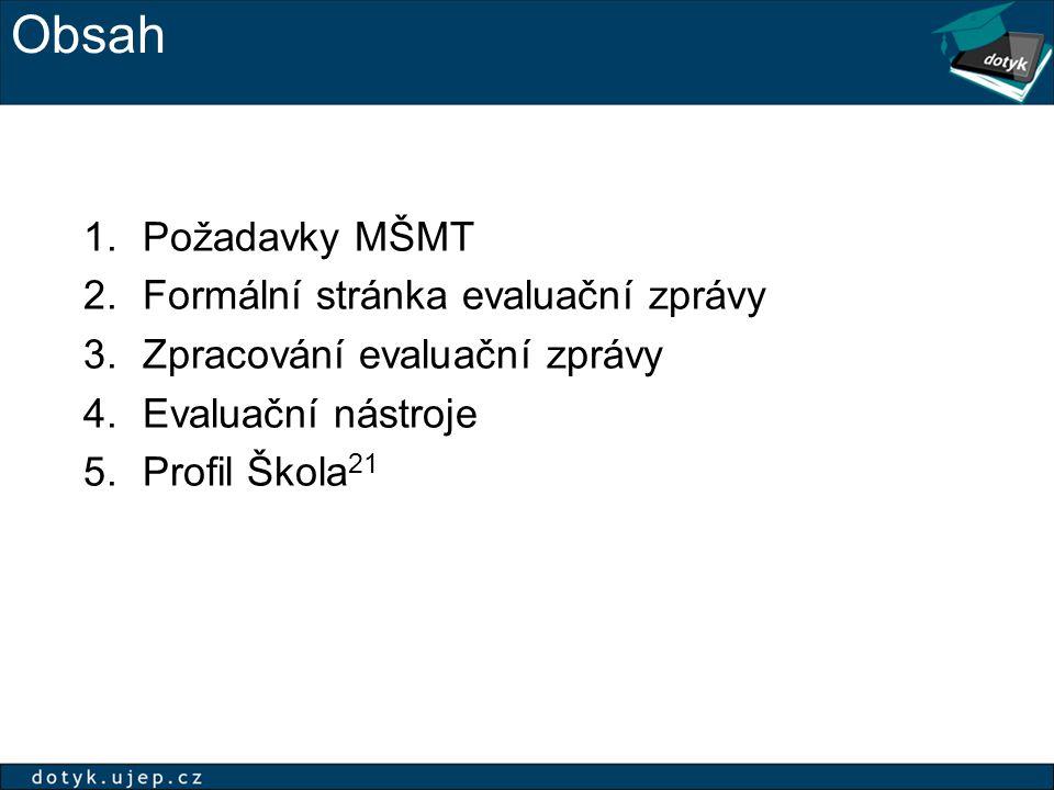 Obsah 1.Požadavky MŠMT 2.Formální stránka evaluační zprávy 3.Zpracování evaluační zprávy 4.Evaluační nástroje 5.Profil Škola 21