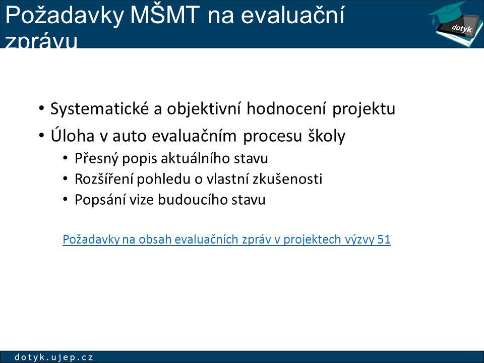 Požadavky MŠMT na evaluační zprávu Systematické a objektivní hodnocení projektu Úloha v auto evaluačním procesu školy Přesný popis aktuálního stavu Ro