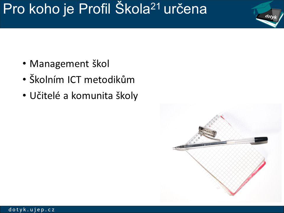 Proč používat Profil Škola 21 Pomůže s hledáním efektivních cest a postupů implementací ICT ve vzdělávání rozvojem vize školy stanovením priorit a reálných cílů účelně investovat do technologií