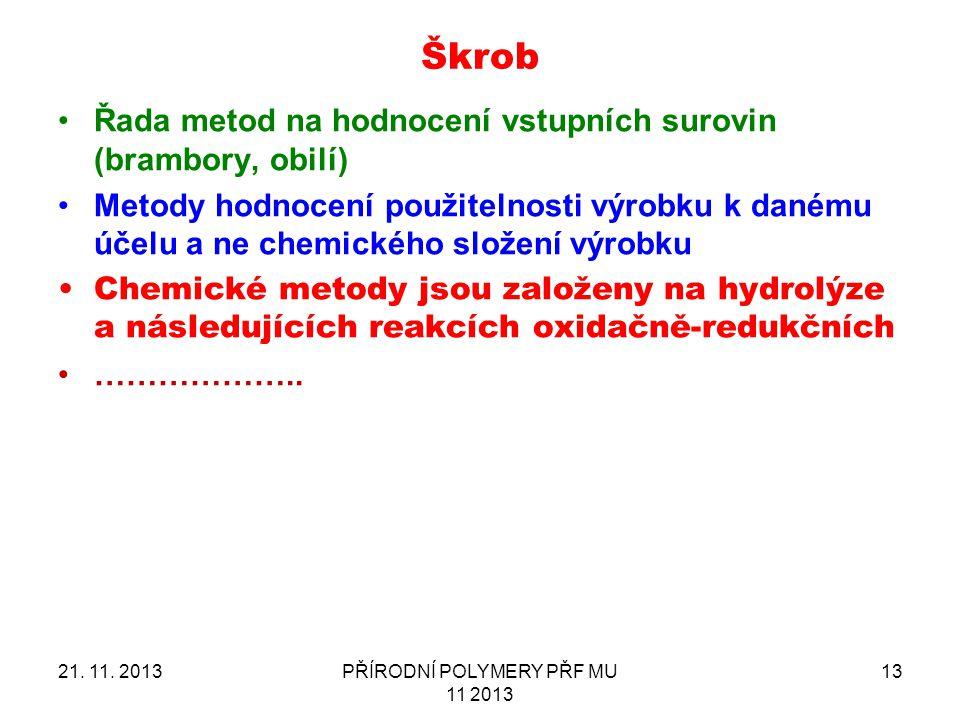 21. 11. 2013PŘÍRODNÍ POLYMERY PŘF MU 11 2013 13 Škrob Řada metod na hodnocení vstupních surovin (brambory, obilí) Metody hodnocení použitelnosti výrob