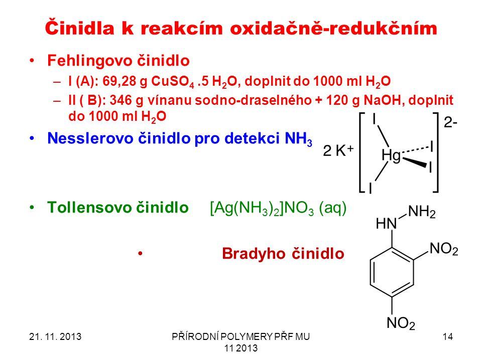 21. 11. 2013PŘÍRODNÍ POLYMERY PŘF MU 11 2013 14 Činidla k reakcím oxidačně-redukčním Fehlingovo činidlo –I (A): 69,28 g CuSO 4.5 H 2 O, doplnit do 100