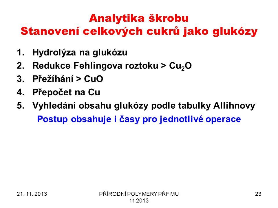 Analytika škrobu Stanovení celkových cukrů jako glukózy 1.Hydrolýza na glukózu 2.Redukce Fehlingova roztoku > Cu 2 O 3.Přežíhání > CuO 4.Přepočet na C