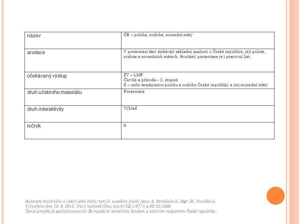 Autorem materiálu a všech jeho částí, není-li uvedeno jinak, jsou: A. Strádalová, Mgr. D. Nováková. Vytvořeno dne 12. 9. 2012. Nový začátek (New start