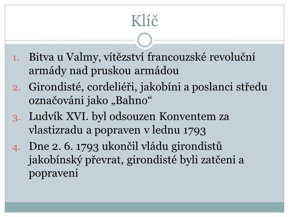 Klíč 1.Bitva u Valmy, vítězství francouzské revoluční armády nad pruskou armádou 2.