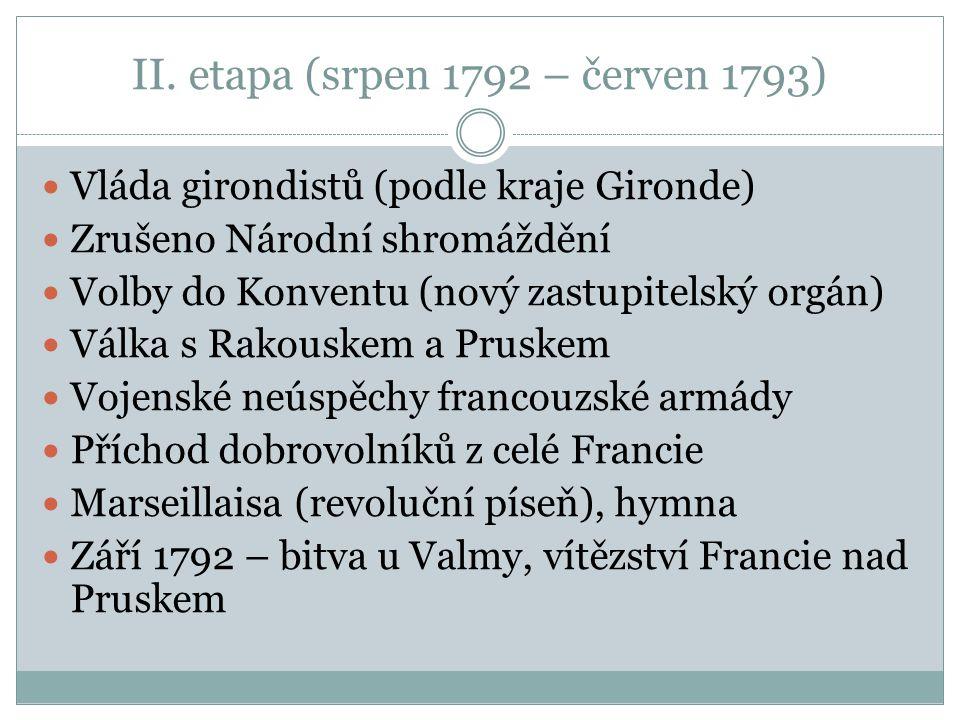 II. etapa (srpen 1792 – červen 1793) Vláda girondistů (podle kraje Gironde) Zrušeno Národní shromáždění Volby do Konventu (nový zastupitelský orgán) V