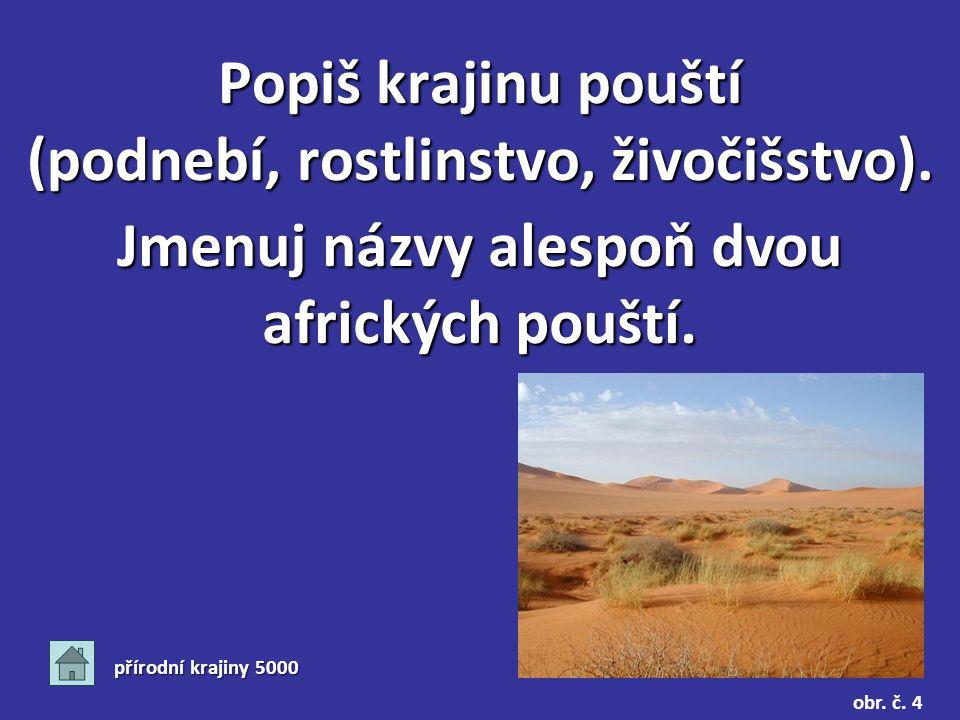 přírodní krajiny 5000 Popiš krajinu pouští (podnebí, rostlinstvo, živočišstvo).