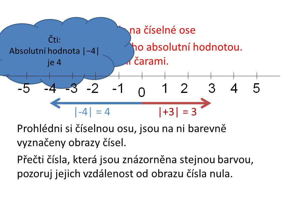 Vzdálenost obrazu čísla na číselné ose od počátku nazýváme jeho absolutní hodnotou. Značíme dvěma svislými čarami. |-4| = 4|+3| = 3 Prohlédni si čísel