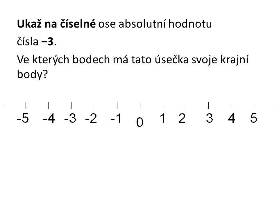 Ukaž na číselné ose absolutní hodnotu čísla −3. Ve kterých bodech má tato úsečka svoje krajní body?
