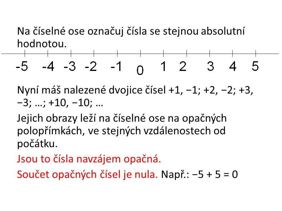 Na číselné ose označuj čísla se stejnou absolutní hodnotou. Nyní máš nalezené dvojice čísel +1, −1; +2, −2; +3, −3; …; +10, −10; … Jejich obrazy leží