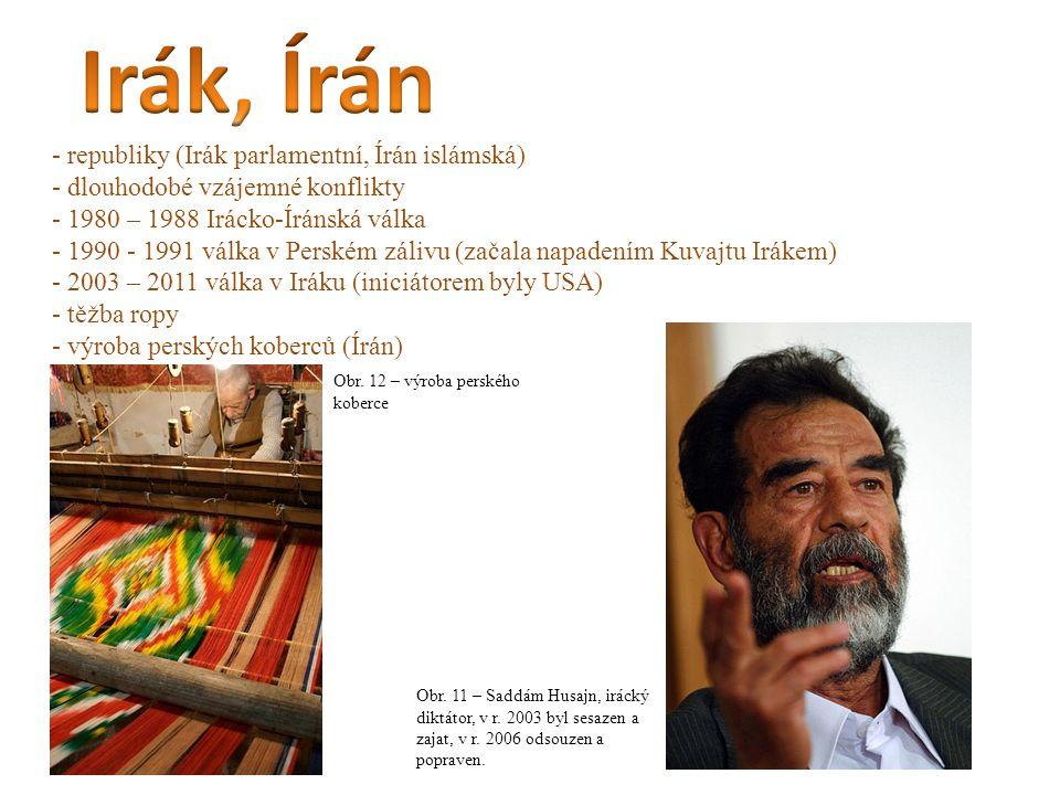 - republiky (Irák parlamentní, Írán islámská) - dlouhodobé vzájemné konflikty - 1980 – 1988 Irácko-Íránská válka - 1990 - 1991 válka v Perském zálivu (začala napadením Kuvajtu Irákem) - 2003 – 2011 válka v Iráku (iniciátorem byly USA) - těžba ropy - výroba perských koberců (Írán) Obr.