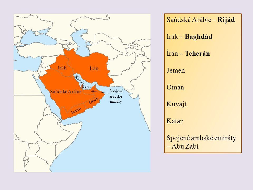 PŘÍRODNÍ PODMÍNKY - Arabský poloostrov a oblast kolem Perského zálivu - převážně pouště (Arabská poušť je 2.