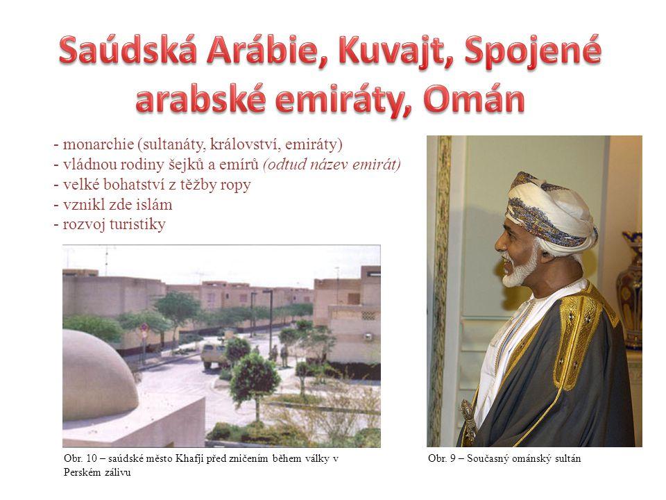 - monarchie (sultanáty, království, emiráty) - vládnou rodiny šejků a emírů (odtud název emirát) - velké bohatství z těžby ropy - vznikl zde islám - rozvoj turistiky Obr.