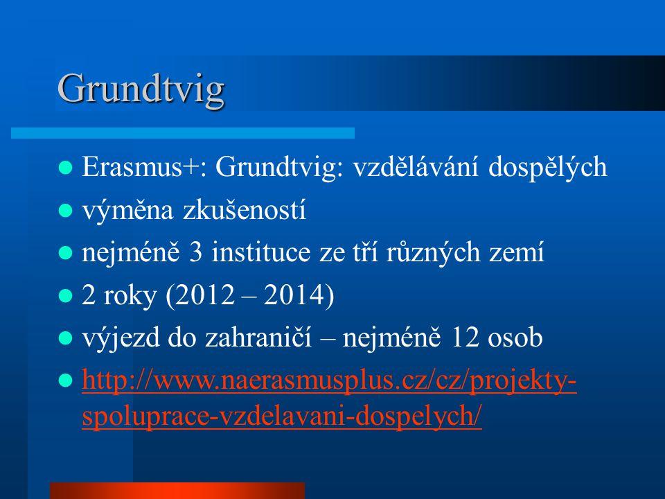 Grundtvig Erasmus+: Grundtvig: vzdělávání dospělých výměna zkušeností nejméně 3 instituce ze tří různých zemí 2 roky (2012 – 2014) výjezd do zahraničí – nejméně 12 osob http://www.naerasmusplus.cz/cz/projekty- spoluprace-vzdelavani-dospelych/ http://www.naerasmusplus.cz/cz/projekty- spoluprace-vzdelavani-dospelych/