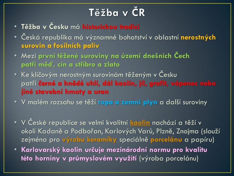 Těžba v Česku má historickou tradici Těžba v Česku má historickou tradici Česká republika má významné bohatství v oblastní nerostných surovin a fosiln