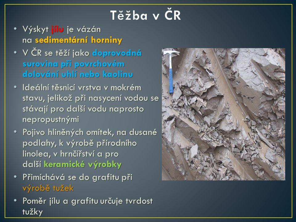 Výskyt jílu je vázán na sedimentární horniny Výskyt jílu je vázán na sedimentární horniny V ČR se těží jako doprovodná surovina při povrchovém dolován