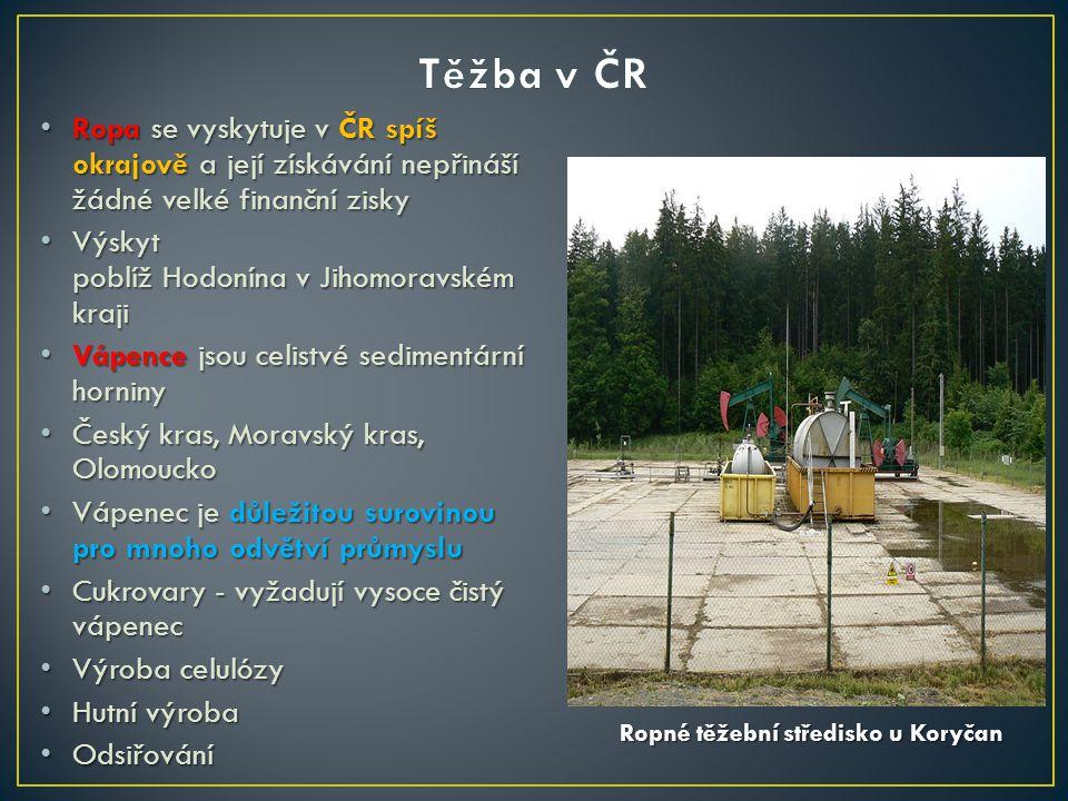 Ropa se vyskytuje v ČR spíš okrajově a její získávání nepřináší žádné velké finanční zisky Ropa se vyskytuje v ČR spíš okrajově a její získávání nepři