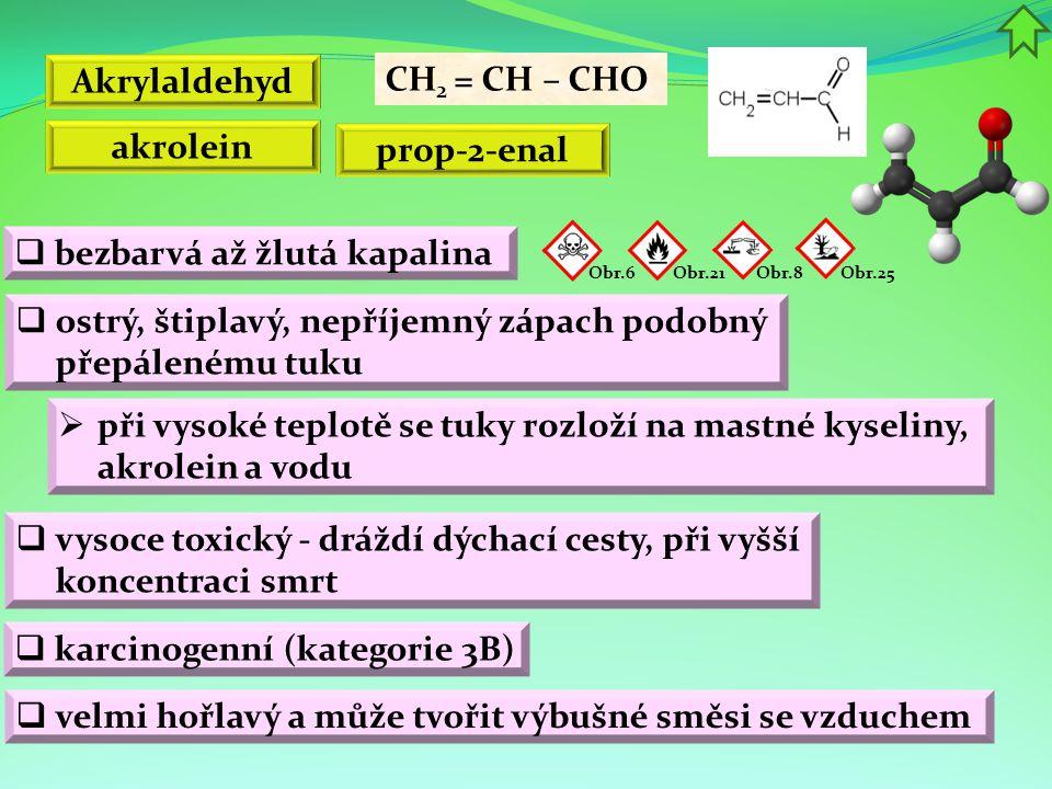 Akrylaldehyd  bezbarvá až žlutá kapalina  při vysoké teplotě se tuky rozloží na mastné kyseliny, akrolein a vodu CH 2 = CH – CHO  ostrý, štiplavý,