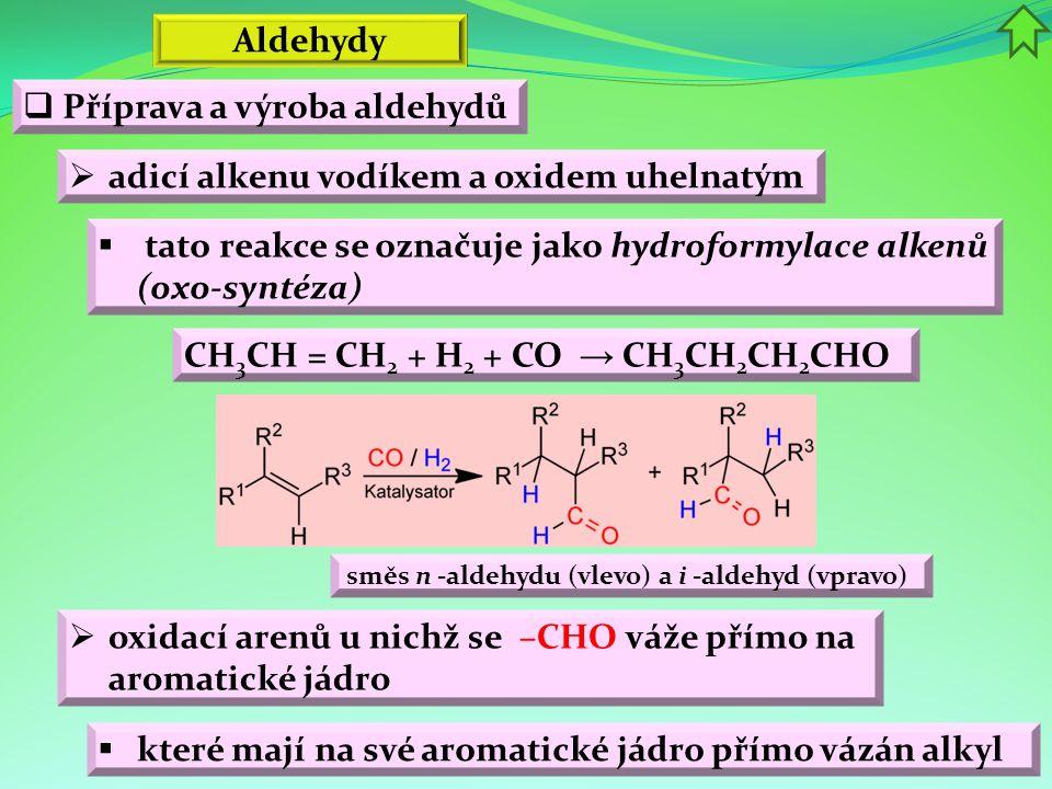 Aldehydy  Příprava a výroba aldehydů  adicí alkenu vodíkem a oxidem uhelnatým  tato reakce se označuje jako hydroformylace alkenů (oxo-syntéza) smě