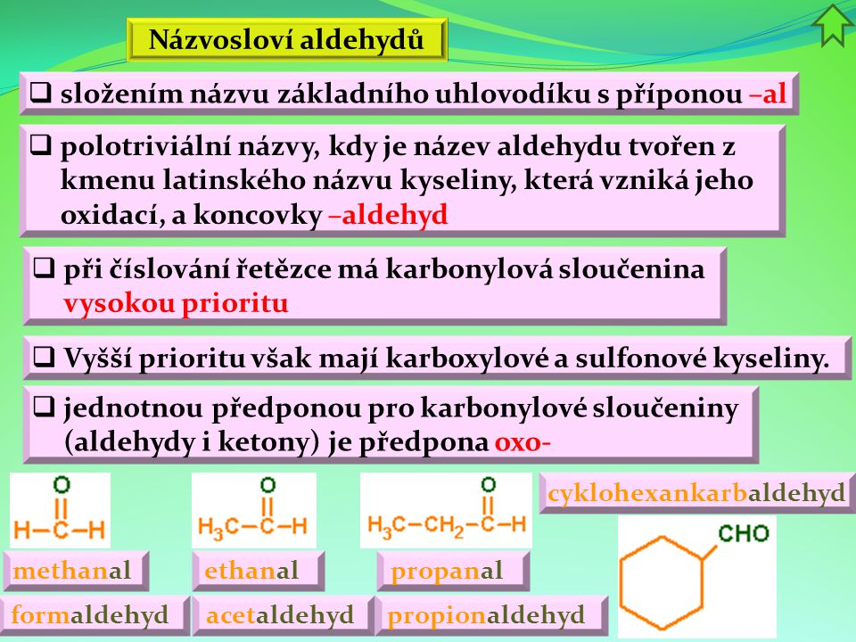 Názvosloví aldehydů acetaldehyd propanal ethanal  polotriviální názvy, kdy je název aldehydu tvořen z kmenu latinského názvu kyseliny, která vzniká j