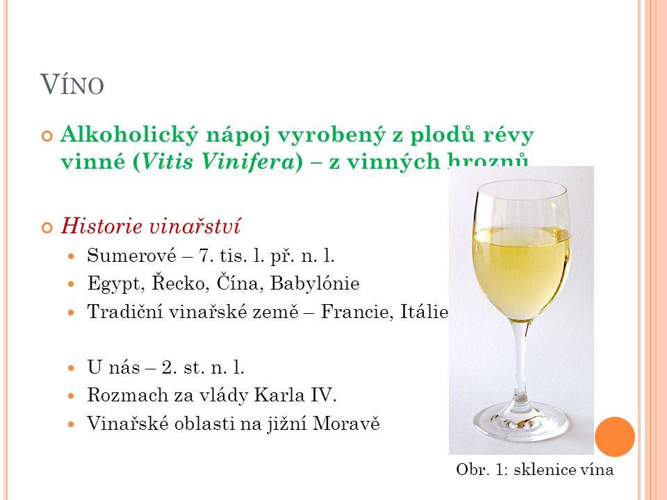 V ÍNO Alkoholický nápoj vyrobený z plodů révy vinné ( Vitis Vinifera ) – z vinných hroznů Historie vinařství Sumerové – 7. tis. l. př. n. l. Egypt, Ře