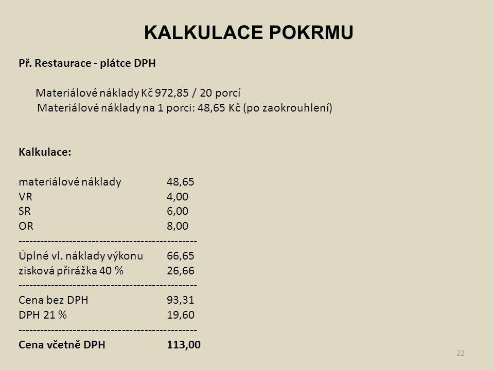22 KALKULACE POKRMU Př. Restaurace - plátce DPH Materiálové náklady Kč 972,85 / 20 porcí Materiálové náklady na 1 porci: 48,65 Kč (po zaokrouhlení) Ka