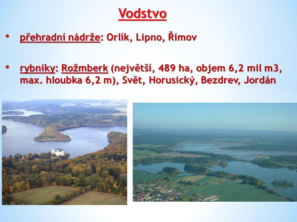 Vodstvo přehradní nádrže: Orlík, Lipno, Římov přehradní nádrže: Orlík, Lipno, Římov rybníky: Rožmberk (největší, 489 ha, objem 6,2 mil m3, max. hloubk