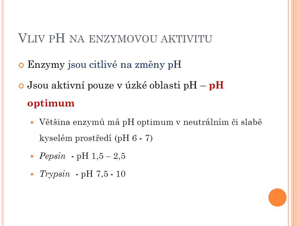 V LIV P H NA ENZYMOVOU AKTIVITU Enzymy jsou citlivé na změny pH Jsou aktivní pouze v úzké oblasti pH – pH optimum Většina enzymů má pH optimum v neutrálním či slabě kyselém prostředí (pH 6 - 7) Pepsin - pH 1,5 – 2,5 Trypsin - pH 7,5 - 10