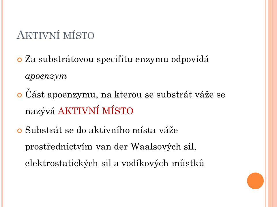 M ECHANISMUS ENZYMOVÉ KATALÝZY 1.