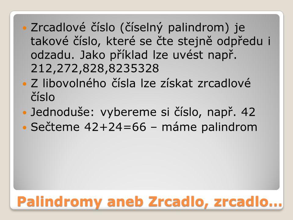 Zrcadlové číslo (číselný palindrom) je takové číslo, které se čte stejně odpředu i odzadu. Jako příklad lze uvést např. 212,272,828,8235328 Z libovoln