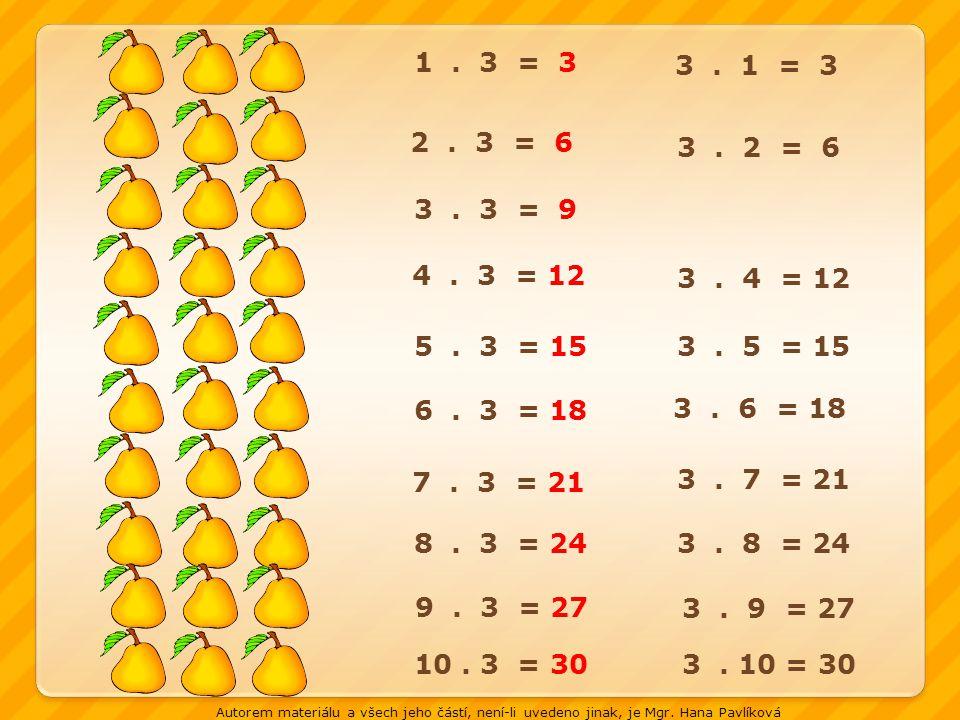 1.3 = 3 2. 3 = 6 3. 1 = 3 3. 2 = 6 3. 3 = 9 4. 3 = 12 3.