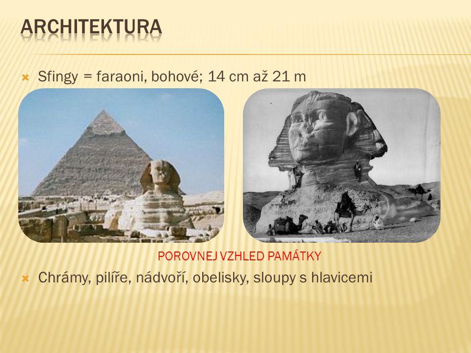  Sfingy = faraoni, bohové; 14 cm až 21 m POROVNEJ VZHLED PAMÁTKY  Chrámy, pilíře, nádvoří, obelisky, sloupy s hlavicemi