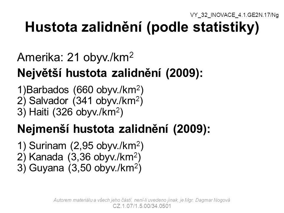 Hustota zalidnění (podle statistiky) Amerika: 21 obyv./km 2 Největší hustota zalidnění (2009): 1)Barbados (660 obyv./km 2 ) 2) Salvador (341 obyv./km 2 ) 3) Haiti (326 obyv./km 2 ) Nejmenší hustota zalidnění (2009): 1) Surinam (2,95 obyv./km 2 ) 2) Kanada (3,36 obyv./km 2 ) 3) Guyana (3,50 obyv./km 2 ) Autorem materiálu a všech jeho částí, není-li uvedeno jinak, je Mgr.