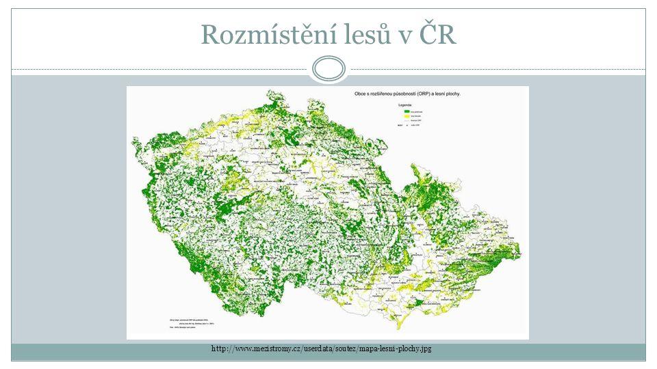 Rozmístění lesů v ČR http://www.mezistromy.cz/userdata/soutez/mapa-lesni-plochy.jpg
