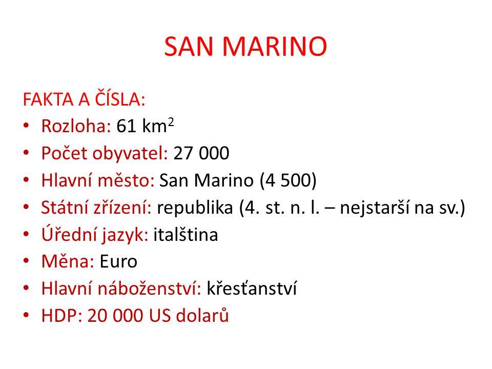 SAN MARINO FAKTA A ČÍSLA: Rozloha: 61 km 2 Počet obyvatel: 27 000 Hlavní město: San Marino (4 500) Státní zřízení: republika (4.