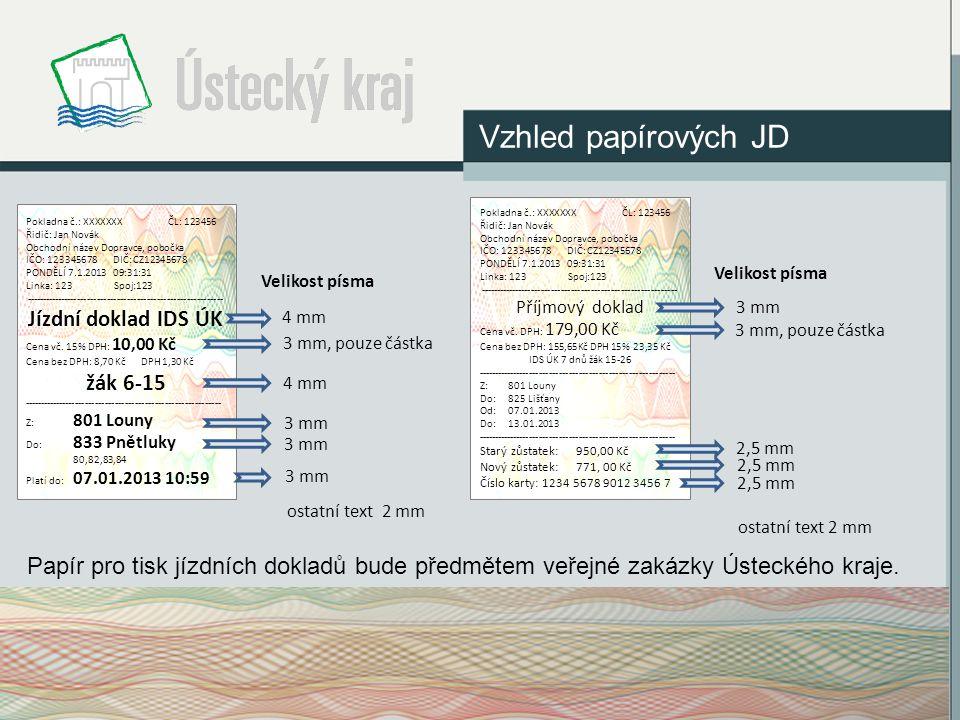 Vzhled papírových JD Pokladna č.: XXXXXXX ČL: 123456 Řidič: Jan Novák Obchodní název Dopravce, pobočka IČO: 123345678 DIČ: CZ12345678 PONDĚLÍ 7.1.2013