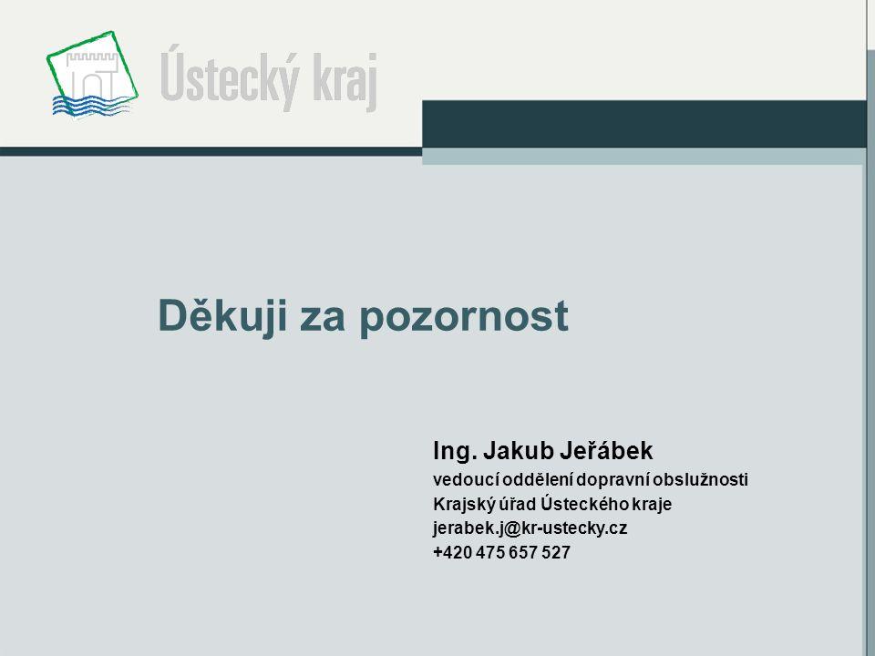 Děkuji za pozornost Ing. Jakub Jeřábek vedoucí oddělení dopravní obslužnosti Krajský úřad Ústeckého kraje jerabek.j@kr-ustecky.cz +420 475 657 527