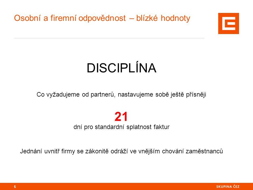 Osobní a firemní odpovědnost – blízké hodnoty DISCIPLÍNA Co vyžadujeme od partnerů, nastavujeme sobě ještě přísněji 21 dní pro standardní splatnost faktur Jednání uvnitř firmy se zákonitě odráží ve vnějším chování zaměstnanců 6