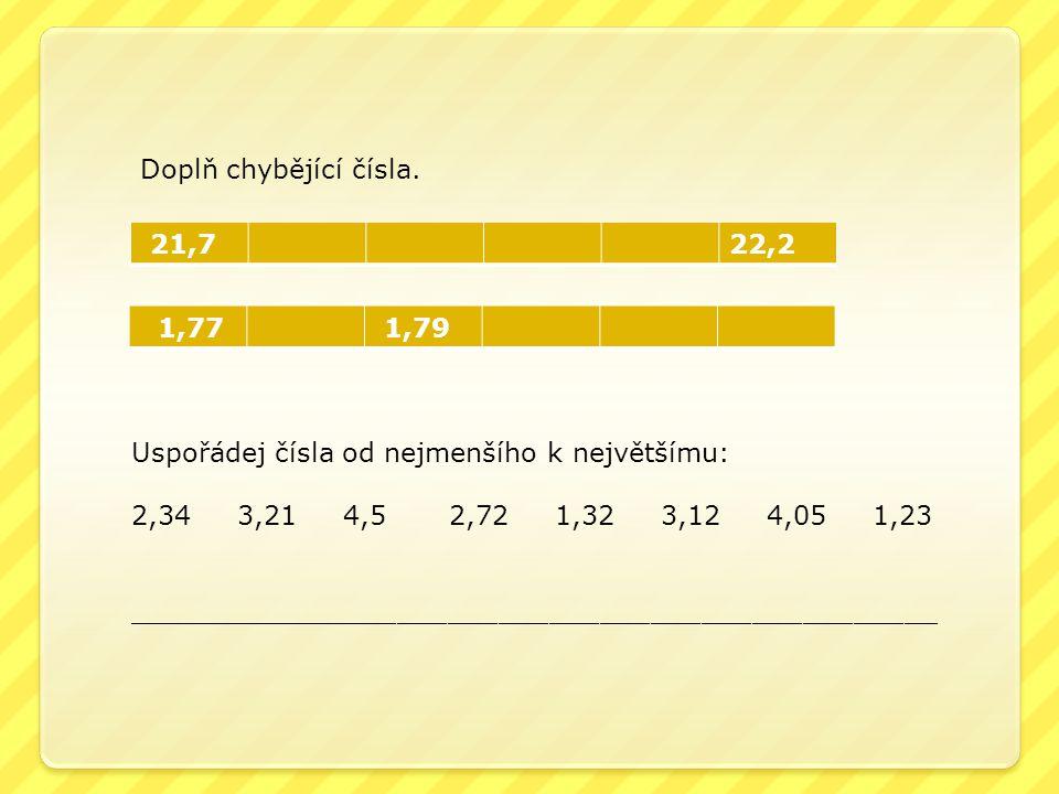 Doplň chybějící čísla. 21,722,2 1,77 1,79 Uspořádej čísla od nejmenšího k největšímu: 2,343,214,52,721,323,124,051,23 ________________________________