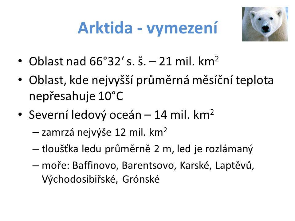Arktida - vymezení Oblast nad 66°32' s. š. – 21 mil. km 2 Oblast, kde nejvyšší průměrná měsíční teplota nepřesahuje 10°C Severní ledový oceán – 14 mil