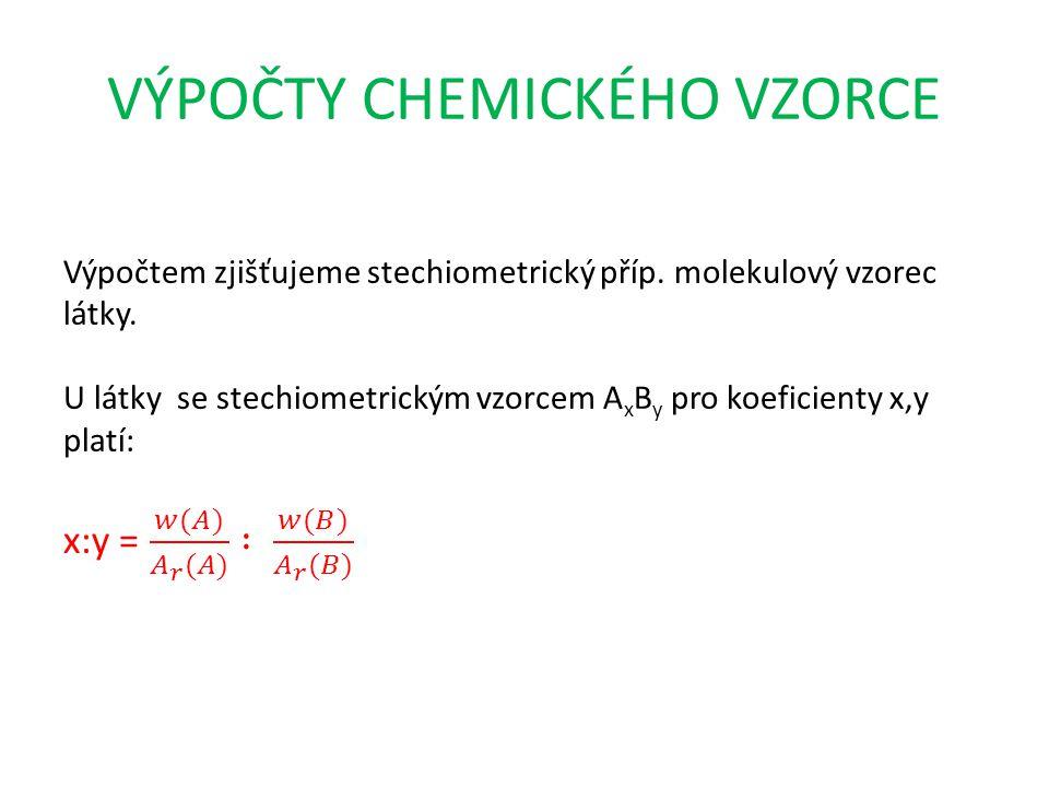 VÝPOČTY CHEMICKÉHO VZORCE