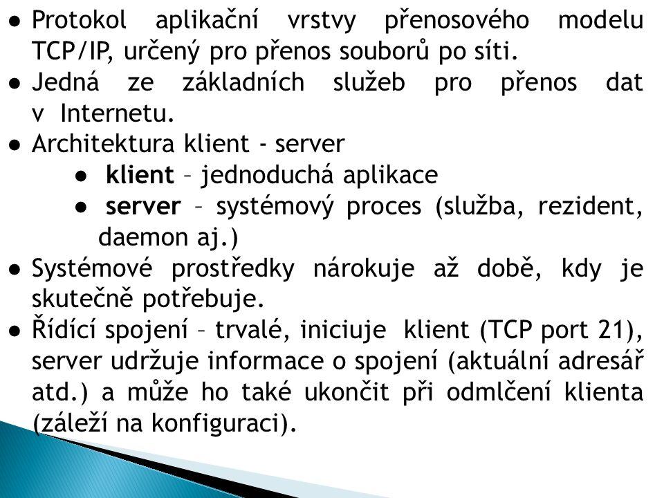 ●Protokol aplikační vrstvy přenosového modelu TCP/IP, určený pro přenos souborů po síti.