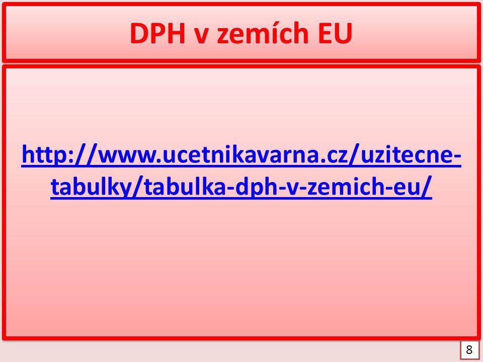 DPH v zemích EU http://www.ucetnikavarna.cz/uzitecne- tabulky/tabulka-dph-v-zemich-eu/ http://www.ucetnikavarna.cz/uzitecne- tabulky/tabulka-dph-v-zem