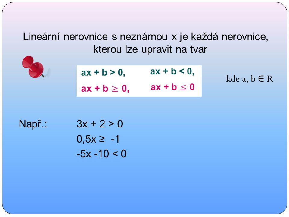 Lineární nerovnice s neznámou x je každá nerovnice, kterou lze upravit na tvar kde a, b ∈ R Např.:3x + 2 > 0 0,5x ≥ -1 -5x -10 < 0