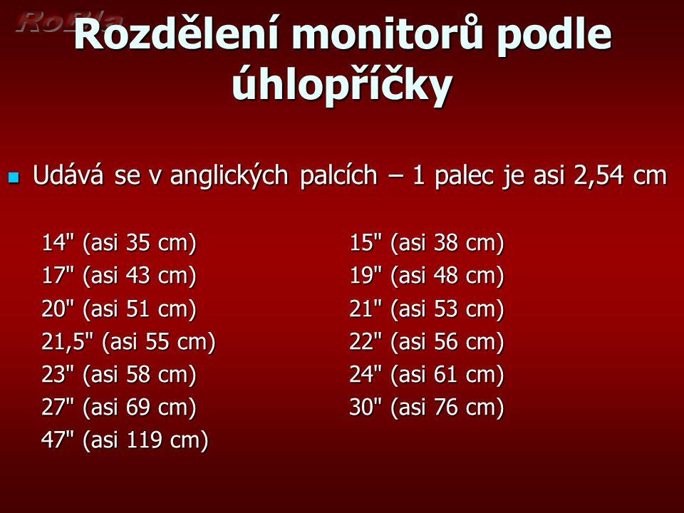 Rozdělení monitorů podle úhlopříčky Udává se v anglických palcích – 1 palec je asi 2,54 cm Udává se v anglických palcích – 1 palec je asi 2,54 cm 14
