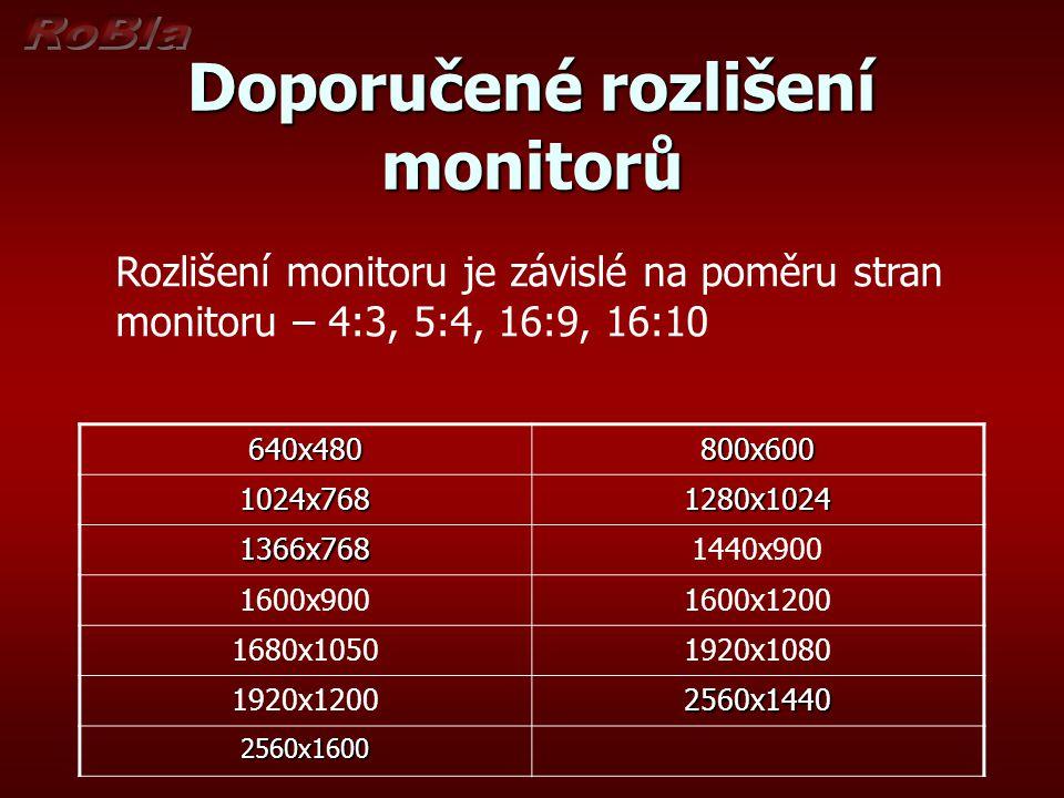 Doporučené rozlišení monitorů 640x480800x600 1024x7681280x1024 1366x7681440x900 1600x9001600x1200 1680x10501920x1080 1920x12002560x1440 2560x1600 Rozl