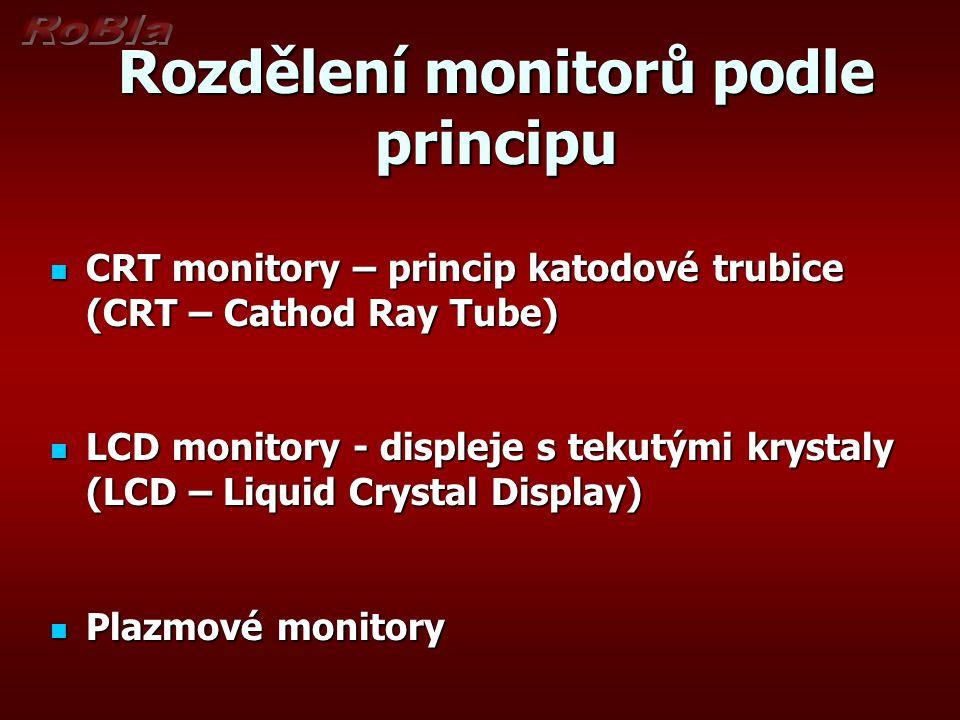 Rozdělení monitorů podle principu CRT monitory – princip katodové trubice (CRT – Cathod Ray Tube) CRT monitory – princip katodové trubice (CRT – Catho